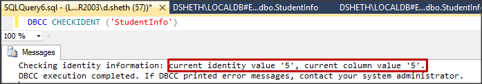 DBCC CHECKIDENT in SQL Server